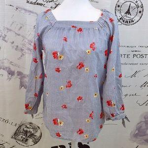 Old Navy Flower Stripe blouse